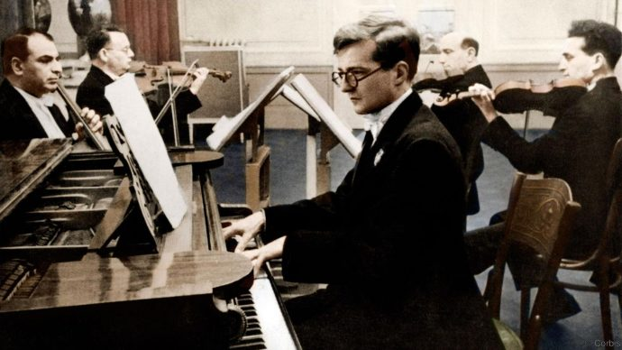Dmitri Shostakovich with the Glazunov Quartet in 1940.   Russian composer Schostakowitsch 25 September 1906 - 9 August 1975. Colourised version.